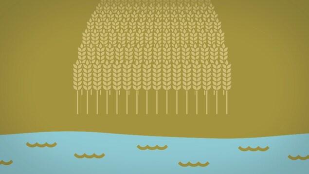 images infographique du niveau d'eau au bord d'un champs.