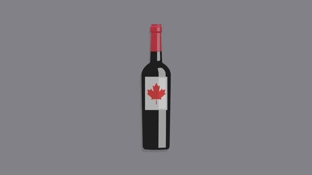Image infographique d'une bouteille de vin avec la feuille d'érable canadienne sur l'étiquette.