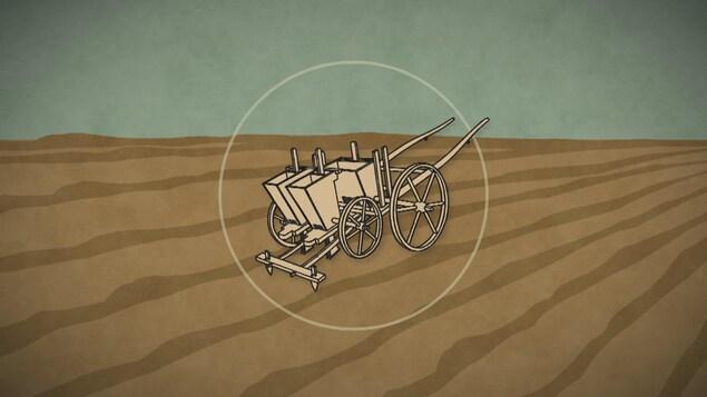 image infographique d'un des premiers semoir utilisé en agriculture.