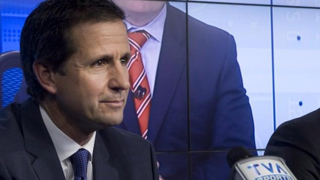 Serge Fortin lors d'une annonce de TVA Sports en 2013