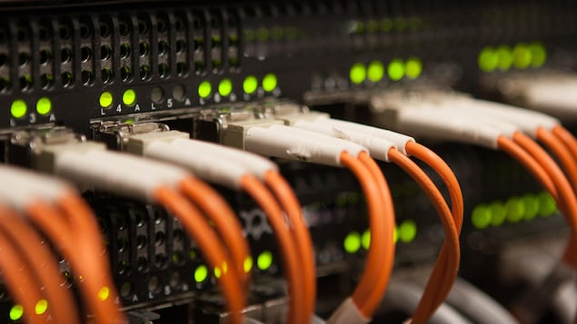Un gros plan sur l'arrière d'un serveur web dans lequel sont branchés des câbles orange.
