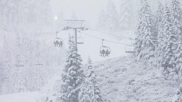 Montagne de ski avec un télésiège et des sapins couverts de neige.