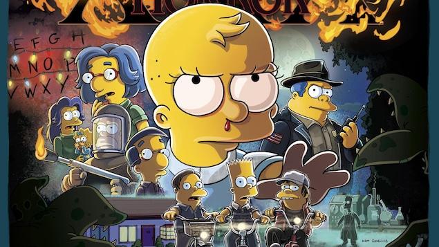 Sur une affiche, on voit de nombreux personnages de l'univers des « Simpson » transposés dans celui de « Stranger Things ».