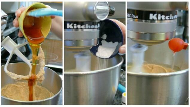 Le sirop, le bicarbonate de soude et la vanille.