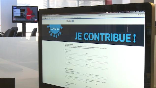 Un écran d'ordinateur sur la page d'accueil du site «Je contribue!».