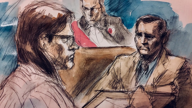 Dellen Millard (avec les lunettes), qui se défend seul, interroge le père de la victime, Clayton Babcock, le juge est assis un peu plus haut, la scène se passe dans un tribunal, c'est un dessin.