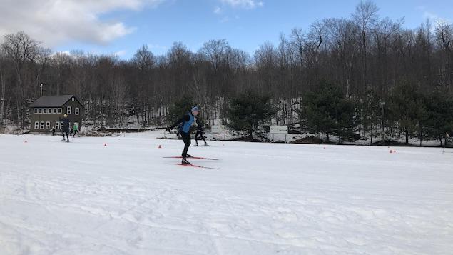 Un homme en ski de fond, devant la forêt.