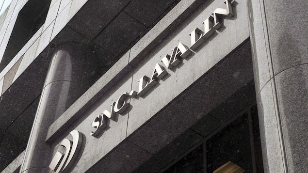 L'enseigne du siège social de SNC Lavalin à Montréal.