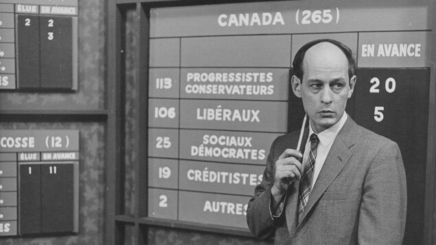 Le journaliste René Lévesque devant un tableau indiquant les sièges de chaque parti.
