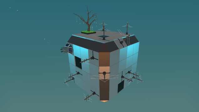 On voit un cube avec des poteaux électriques sur sa surface et un arbre dans lequel sont accrochées des lumières éteintes.
