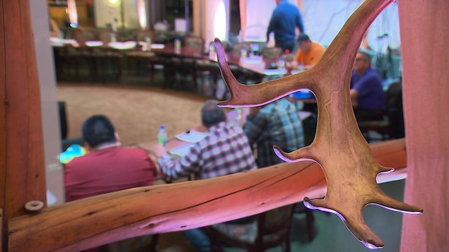 Un bout de panache à l'avant-plan et derrière des intervenants à table qui discutent