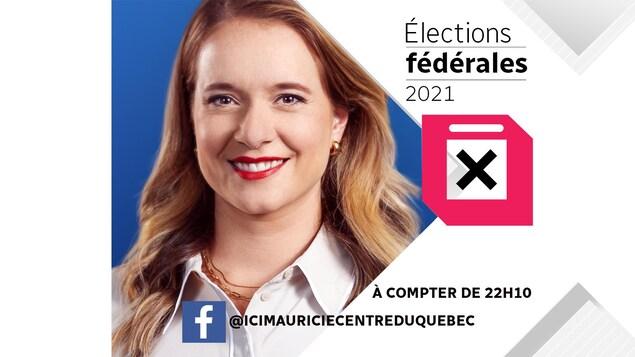 """L'animatrice Sophie Bernier et les mots """"élections fédérales 2021""""."""