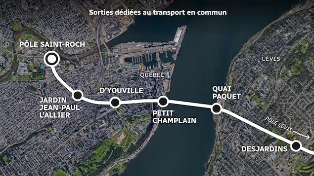 Carte satellite du tracé du tunnel ainsi que des différentes sorties.