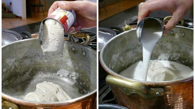 Dans un grand chaudron, il verse la soupe aux champignons et le lait.