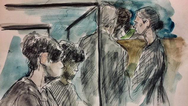 Deux garçons dans le box des accusés et deux avocats qui parlent < la juge sur un dessin de cour.