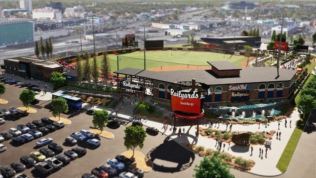 Un plan conceptuel d'un stade de baseball.