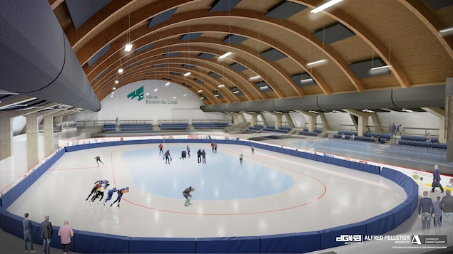 Un dessin en trois dimensions donne une idée de l'apparence de la patinoire de la Cité des Jeunes, après les rénovations.