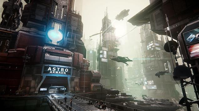 Une ville futuriste où se croisent des vaisseaux spatiaux, avec un bâtiment à l'avant-plan affichant le nom Astro Armada.