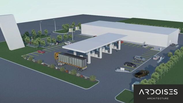 Un plan d'architecte montre le bâtiment et les pompes à essence. Il y a aussi un grand stationnement.