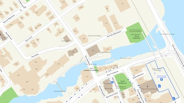 Carte illustrant le stationnement Magog