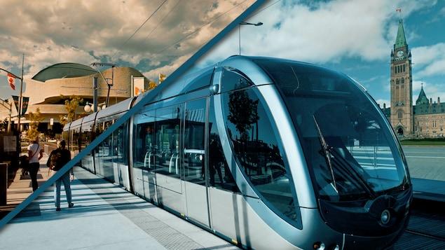 Montage photo d'un tramway avec en arrière-plan le Parlement d'Ottawa et le Musée canadien de l'histoire à Gatineau.