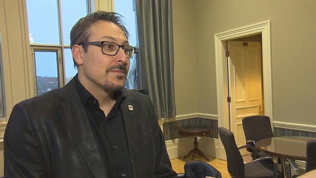 Le maire de Sherbrooke, Steve Lussier, en entrevue le 17 février 2018