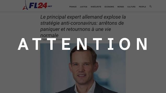 Capture d'écran d'un article sur le virologue allemand Hendrick Streeck. Le mot « ATTENTION » est superposé sur la photo.