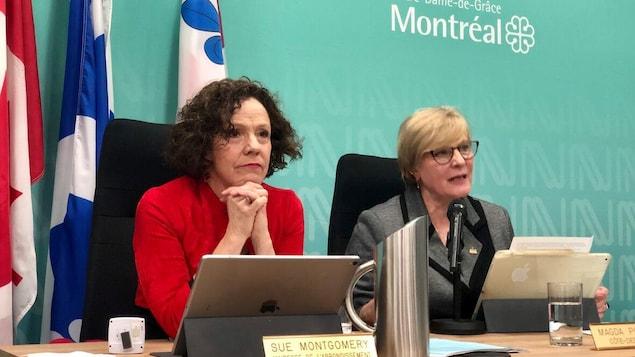 Sue Montgomery au conseil d'arrondissement.