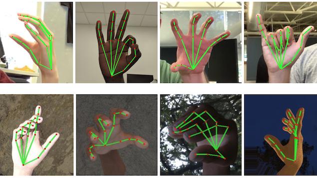 Des mains placées dans différentes poses.