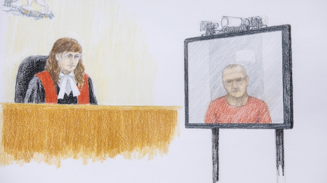 Court sketch of Jamie Bacon at the BC Supreme Court in Vancouver, British Columbia on Thursday, July 9, 2020.   SKETCH BY JANE WOLSAK