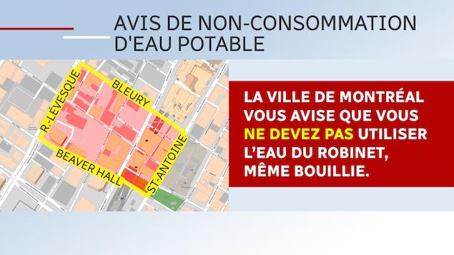 Avis de non-utilisation de l'eau dans le centre-ville de Montréal