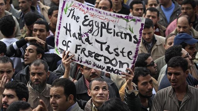Un manifestant tient une pancarte sur laquelle on peut lire : '' Les Égyptiens ont goûté à la liberté, il n'y aura pas de retour en arrière''.
