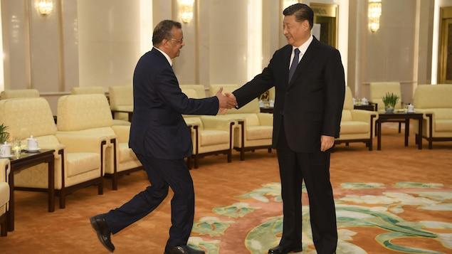 Le Dr Tedros serre la main de Xi Jinping, au milieu d'une grande salle.