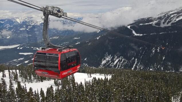 Le téléphérique Peak 2 Peak de la station de ski Whistler Blackcomb survole les sapins sous la neige