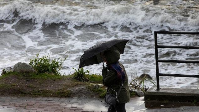 Un passant se protège des vents avec un parapluie au bord de la mer.
