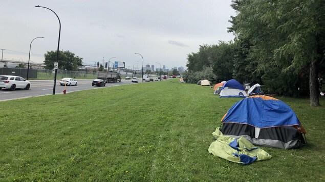 Des tentes alignées le long d'un terrain boisé.