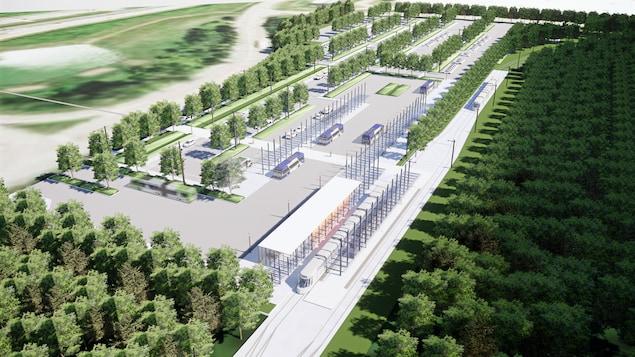 Croquis du projet du terminus Le Gendre à l'extrémité ouest du futur réseau de tramway à Québec.