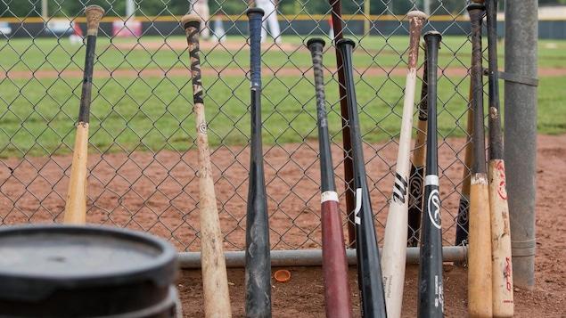 Des bâtons de baseball sur un terrain