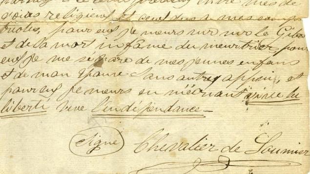 Une copie du testament politique rédigé par le patriote