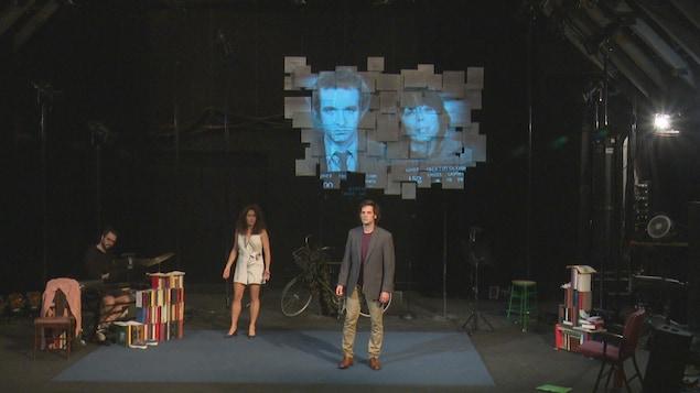 Les comédiens Simon Landry-Désy et Catherine Allard en répétition.