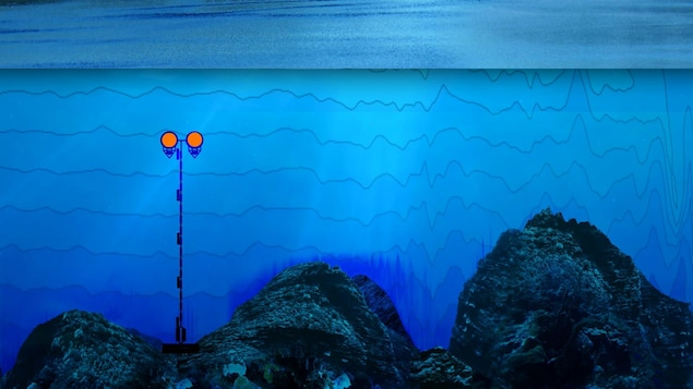Représentation du fond du fjord du Saguenay (vu de coupe). On voit le câble déployé dans l'eau, ancré au fond rocheux et maintenu à l'aide de bouées.