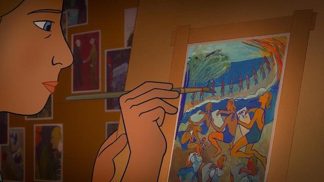 Illustration de l'artiste-peintre Charlotte Salomon en train de peindre.