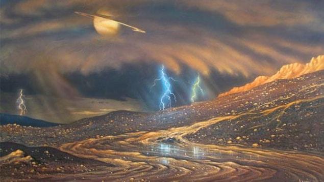 Représentation artistique de la surface de Titan