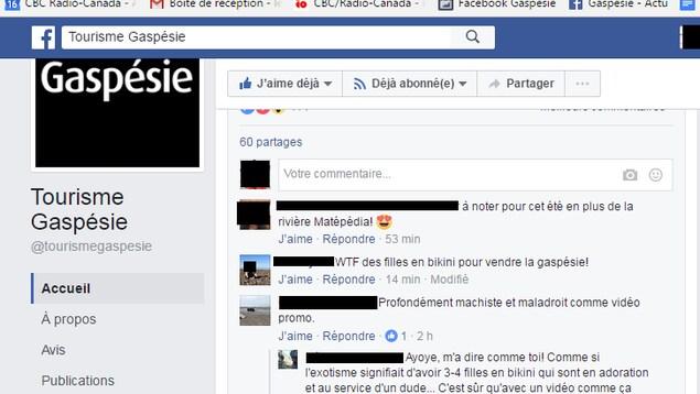La page Facebook de Tourisme Gaspésie