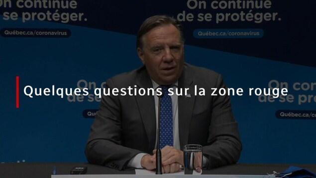 Le premier ministre François Legault en conférence de presse.