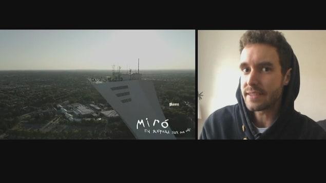 Montage du clip de Miro sur le mât du Stade olympique et de Miro en visioconférence.