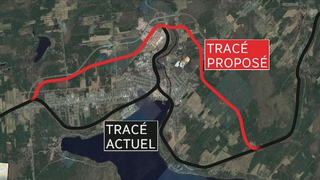 Le tracé proposé de la voie de contournement.