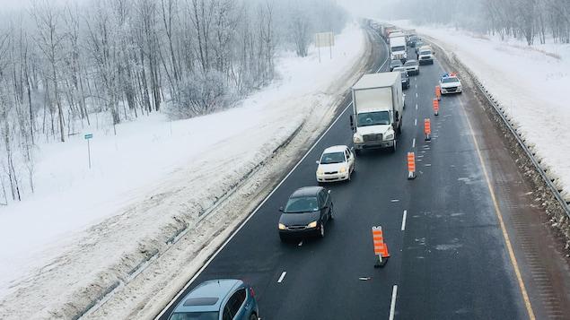 L'autoroute 40 Est rouverte après deux carambolages