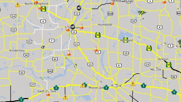 Une capture d'écran montre l'état des routes en Saskatchewan.