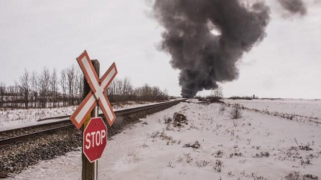 Une voie ferrée, un paysage hivernal et une épaisse fumée noire.